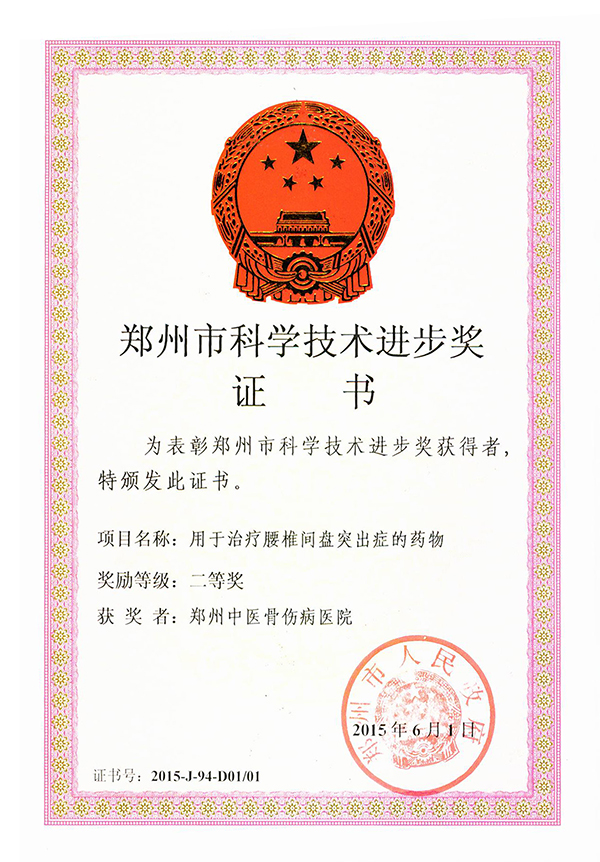 郑州市科学技术进步奖:用于治疗腰椎间盘突出症的药物